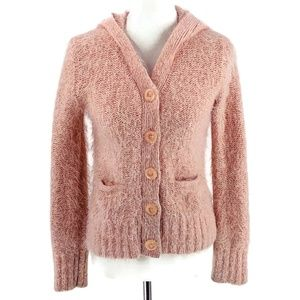 Anthropologie Sweaters - SLEEPING ON SNOW Fuzzy Pink Hooded Cardigan Small